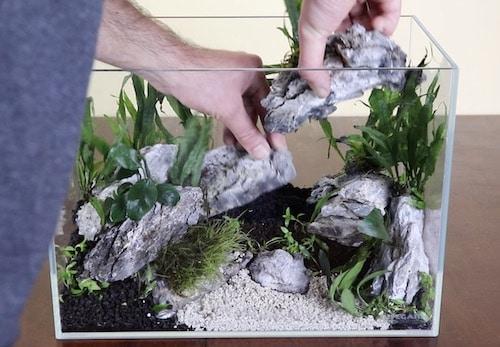 Creating a cave aquascape with Seiryu stones.