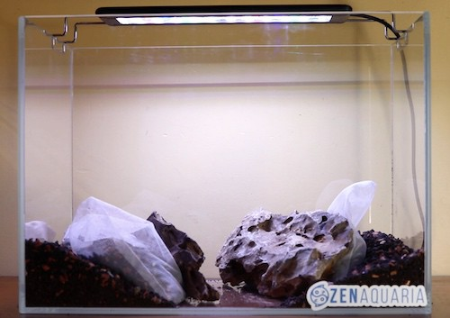 Positioning dragon stone in an aquascape.