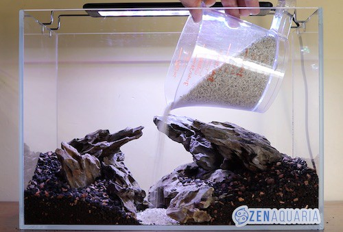 Creating pathway in an aquascape.