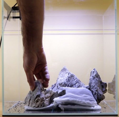 Adding seiryu stone to aquascape.
